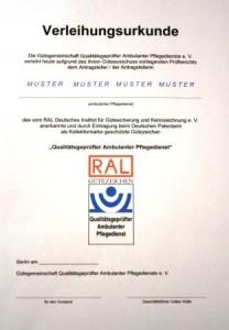 Muster der Verleihungsurkunde des RAL Zertifikats