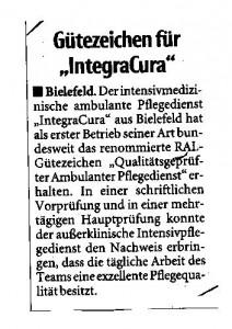 Neue Westfälische - Bielefelder Tageblatt IntegraCura 09.01.2013